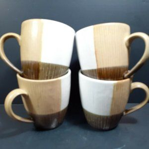 Sango Odyssey Black 4520 Set of 4 Coffee Mugs Cup